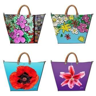 Iloisista kukkakuoseista pitävälle käteen sopivat esimerkiksi Gabsin Bellissima Studion: Berlin 2-, Fantasia 2-, Flowers 2-, ja Flowers-mallin laukut (ylävasemmalta alaoikealle lueteltuna).
