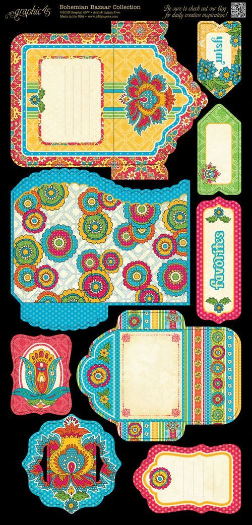 Bohemian Bazaar Tags & Pockets02- Click on the image- save as!