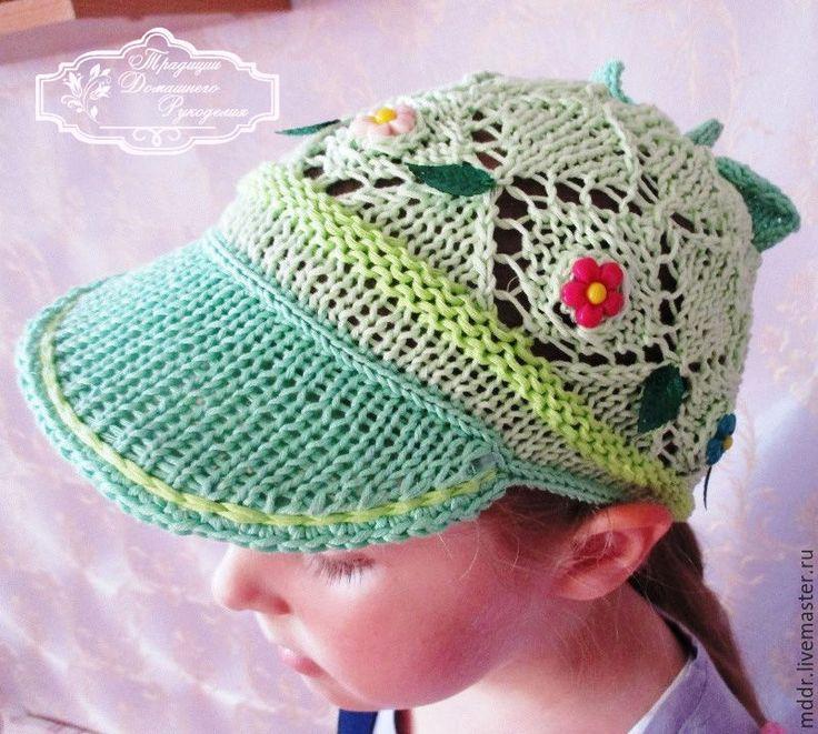 Купить вязаная кепка для девочки - мятный, кепка, кепка вязаная, кепи, кепка для девочки