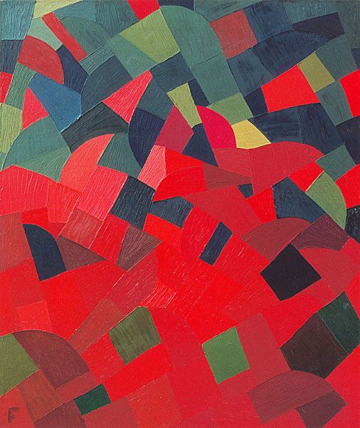design-is-fine:  Otto Freundlich, Green-Red, 1939. Oil on canvas. Museum Ludwig, Cologne. Source
