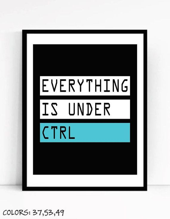 Printable Everything Is Under Ctrl Art For Geeks,Digital Download, Office Wall Gallery, Quote Computer Coding Software Engineer Programmer