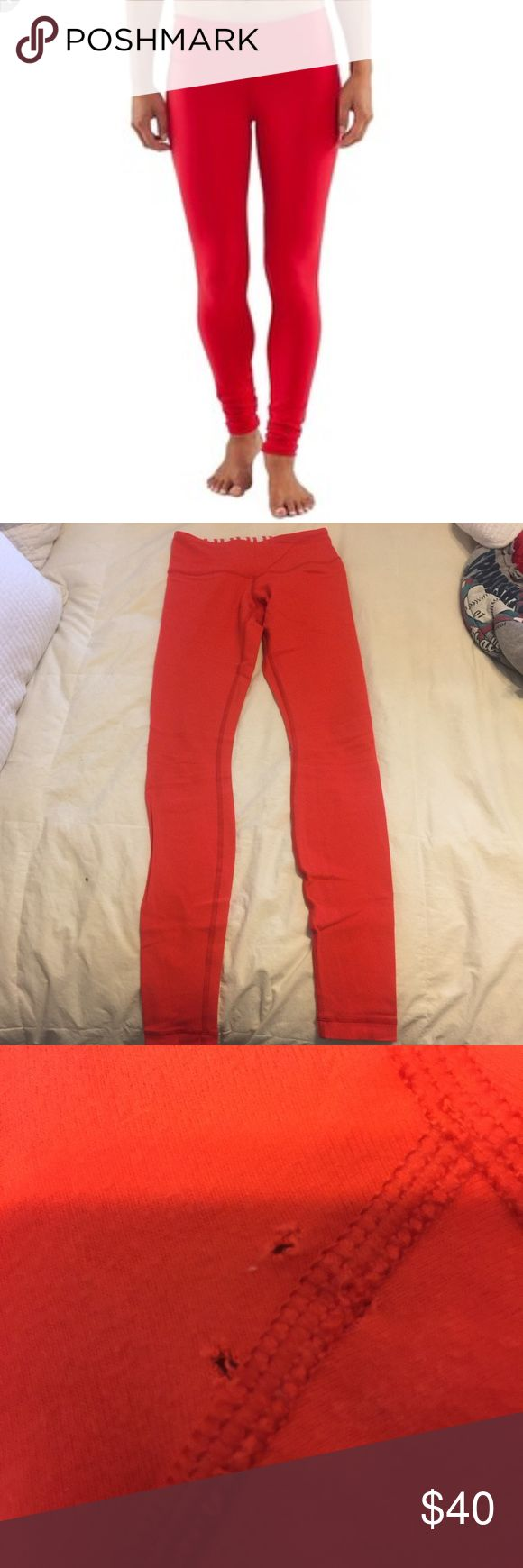Lululemon leggings-SALE!! Beautiful Lululemon leggings. Med rise. Has two tiny holes in crotch but is priced accordingly. Lululemon might be able to fix these for free. Full length. lululemon athletica Pants Leggings