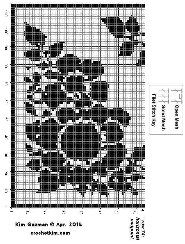 Elegant Floral Filet Table Scarf - CrochetKim.com