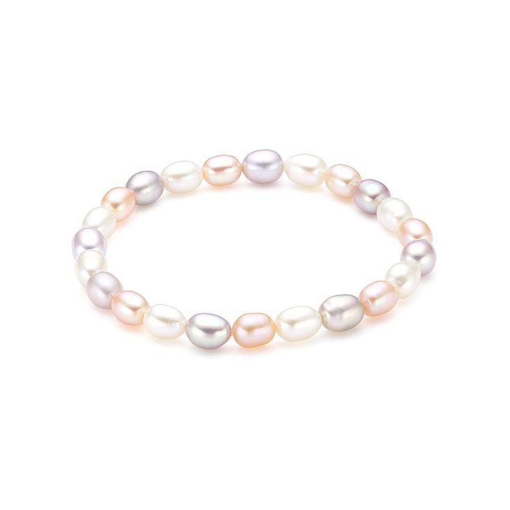 Brățară Sakura Pearl perle de cultură ovale alb caisă lilia