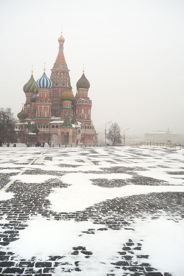 Saint Basil's Cathedral, Moscow. A view after snowfall