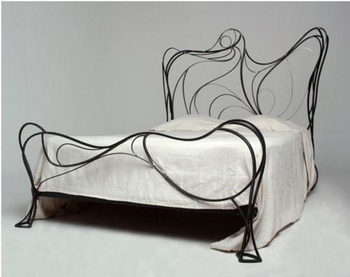 """...and wrought iron beds also come in """"zany organic."""""""