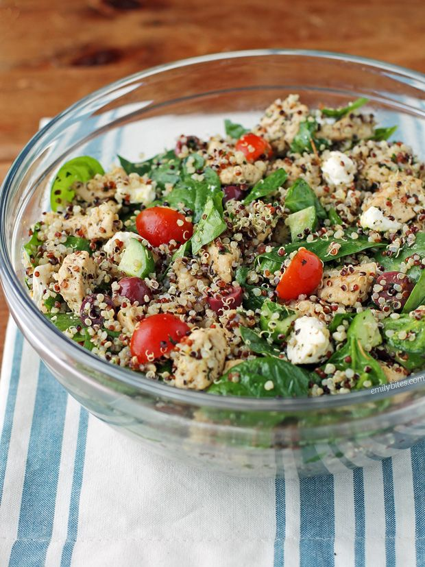 Greek Chicken Quinoa Salad Emily Bites Recipe Chicken Quinoa Salad Greek Quinoa Salad Skinny Taste Recipes