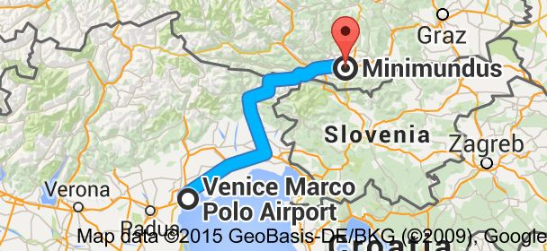 From Venice Marco Polo Airport Via Galileo Galilei 30 1 30173 Venezia Italy To Minimundus Villacher Stra Venice Marco Polo Airport Marco Polo Klagenfurt