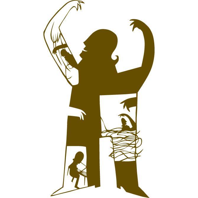 Gémeo Luís ilustrador - as imagens são recortadas em papel Kraft