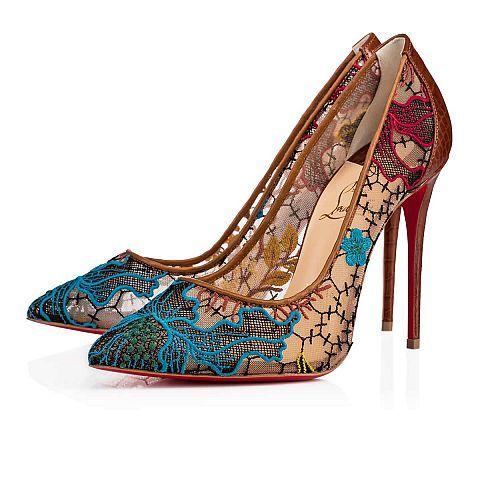 Follies Lace 100 Multi/Cuoio Rete/Guipure Butterfly - Women Shoes - Christian Louboutin