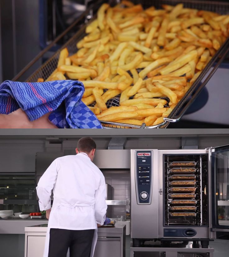 V krátkom videu Vám ukážeme, ako sa dajú pripravovať veľké množstvá hranoliek pri úspore 95% tuku v konvektomate Rational. Až 200 porcií hranoliek za 15 minút (SCC 202).  Vďaka patentovanému príslušenstvu CombiFry® je možná príprava veľkého množstva predsmažených produktov ako sú rybie nugety, hranolky a americké zemiaky bez pridania tuku. Zdravé a chutné.