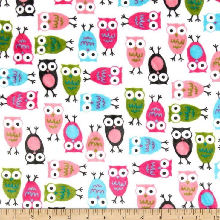 Fucshia Owl Minky