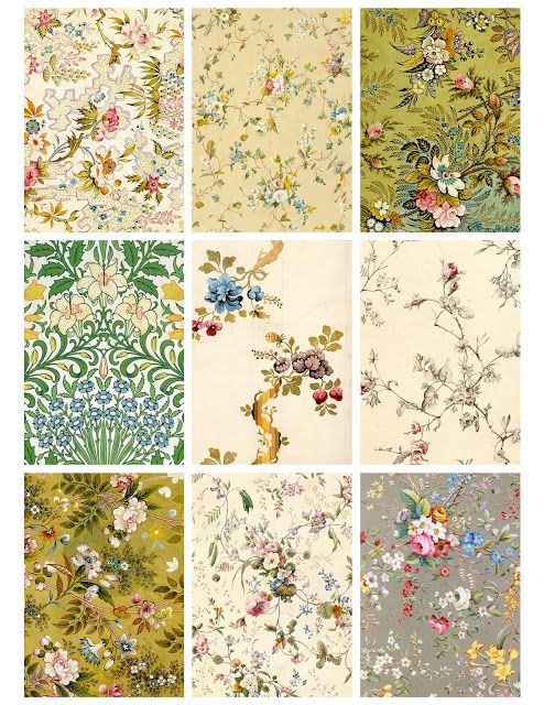 Free Printable! Antique Flower Wallpaper Cards by Jodie Lee Designs.