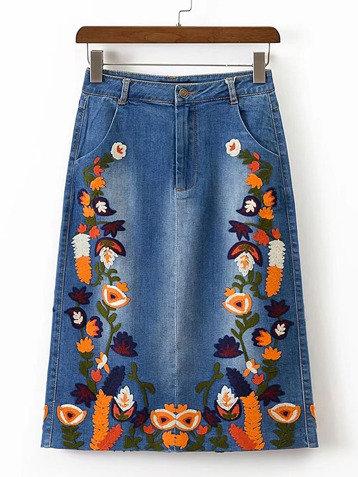 Shop Flower Embroidery Split Back Denim Skirt online. SheIn offers Flower Embroidery Split Back Denim Skirt & more to fit your fashionable needs.