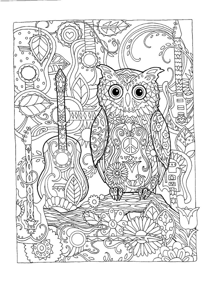 Adult Colouring Pages Coloring Books Owls Owl Mosaic Creative Mandala Relax Mosaics