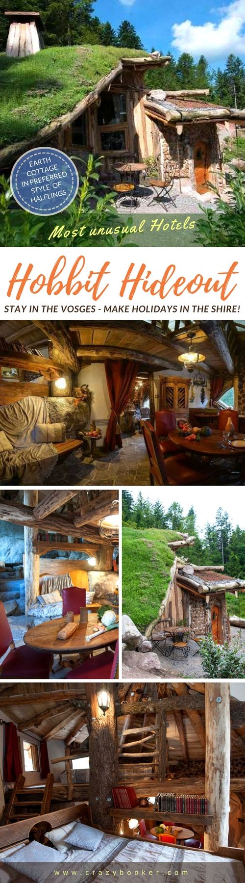 Hobbit Hideout in France | This fairytale earth cottage preferred by halflings in the Shire offers unique vacation stays in the Vosges | The location between picturesque cliffs and the rustic furnishings transports the guests of this grass-covered hut directly to Middle-Earth | Visit website or follow board and discover more unique holiday homes in hobbit style! #hobbit #shire #middle-earth #france