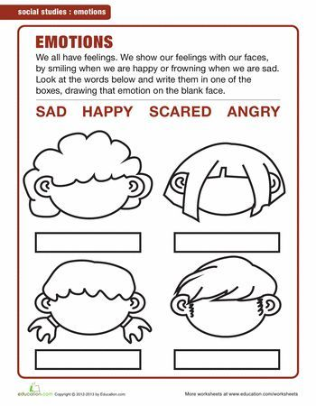 Image result for emotions worksheets for kindergarten pdf