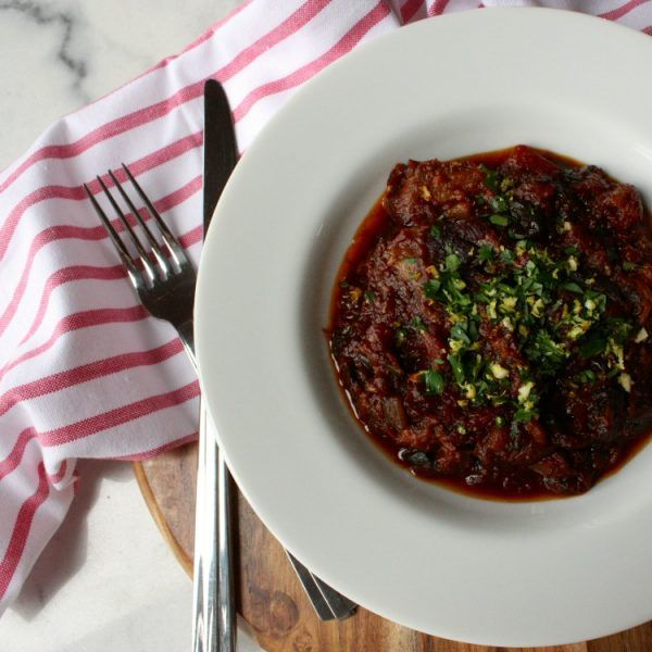 Rich and tasty slow-cooked lamb shanks