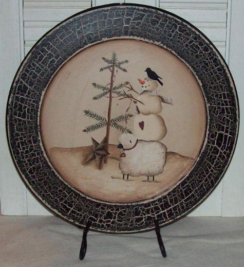 Snowman, Crow, and Sheep Holiday Plate-Primitive plate,Snowman plate,Christmas Home Decor,Crow Plate,Country Primitive Christmas Decor,WInte...