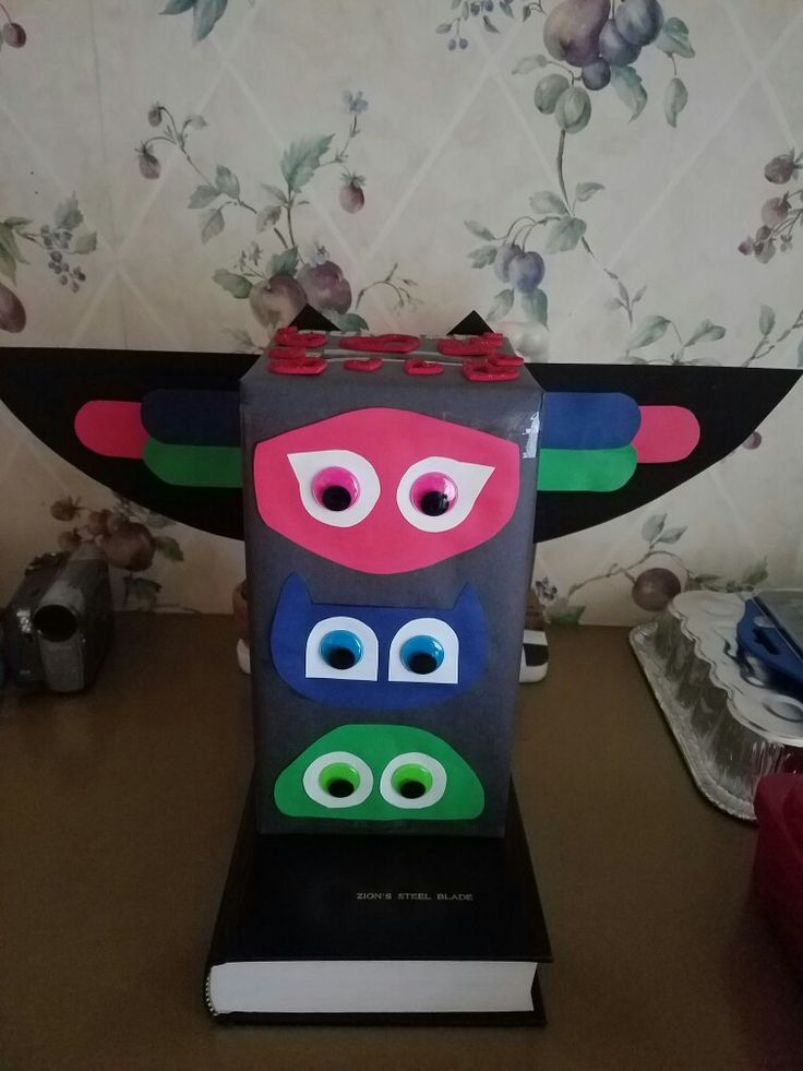 Pj's masks valentines card box. Geckos head is upside down.  Took 4 hours.