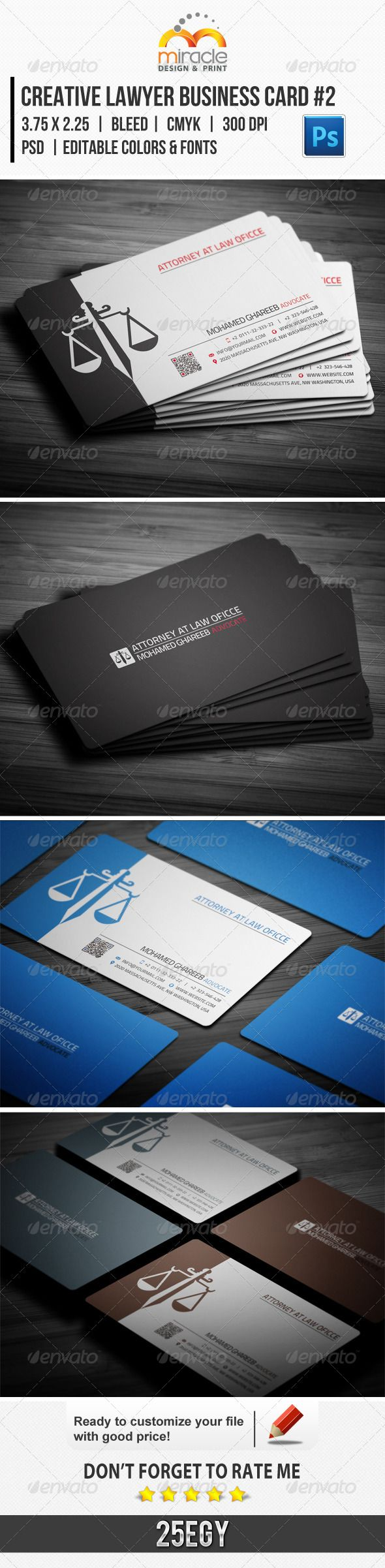 Creative Lawyer Business Card #2 #GraphicRiver Creative Lawyer Business Card #2 [ Update 1-1-2014 ] Creative and clean Lawyer Business Card in 5 Color Set. editable text layers or colors shape layers in easy way . Features : › 2 PSD files contain 5 different colors templates . › 2 side artwork for each template . › Horizontal Style . › CMYK Color Mode . › Squared corners. › Rounded Corners. › 300 dpi . › Easy to customize color & Edit text . › 3.75×2.25 with Trim & bleed area . › Clean…