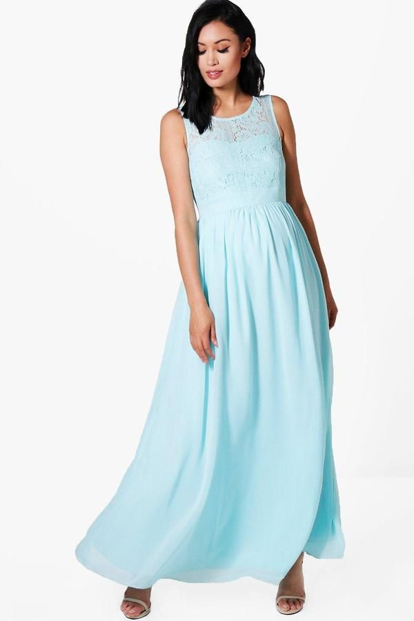 boohoo Maternity Lace Bodice Occasion Maxi Dress