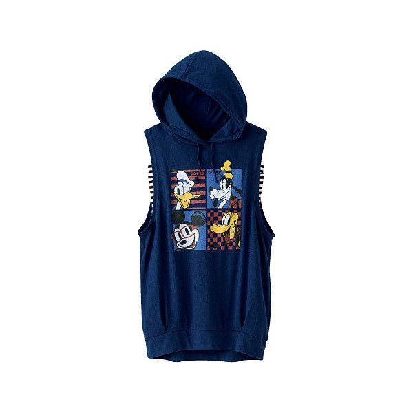[Cecile] Sleeveless Hoodie Camisole (Disney) 2015 Summer Teen's... ($27) ❤ liked on Polyvore featuring tops, hoodies, sleeveless hoodie, hooded sweatshirt, striped hoodie, sleeveless hoodies and blue cami