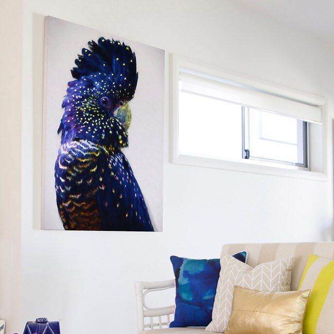 This gorgeous black and gold cockatoo looks stunning in this living room don't you think?! Search 'Urban Road' to get one for your own home #theblockshop #theblock #art #wallart #cockatoo