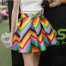 2015 New Fashion Women Skirts Summer Retro Skater Skirts Mini Pleated Skirts Vintage Rainbow Color Casual Saias Hot Sale