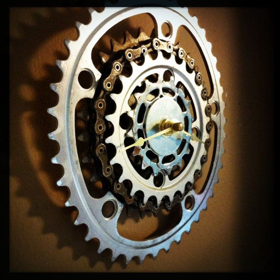 Wall Clock made from Recycled Bike Gears and Chain / Bicycle Gear Chainring Clock / Recycled / Upcycled - For more great pics, follow bikeengines.com