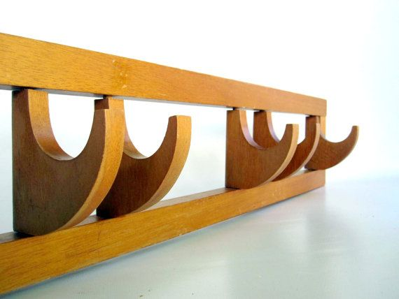 Brown Coat Rack - Teak Wooden Towel Rack with Swivel Hooks - Mid Century Modern