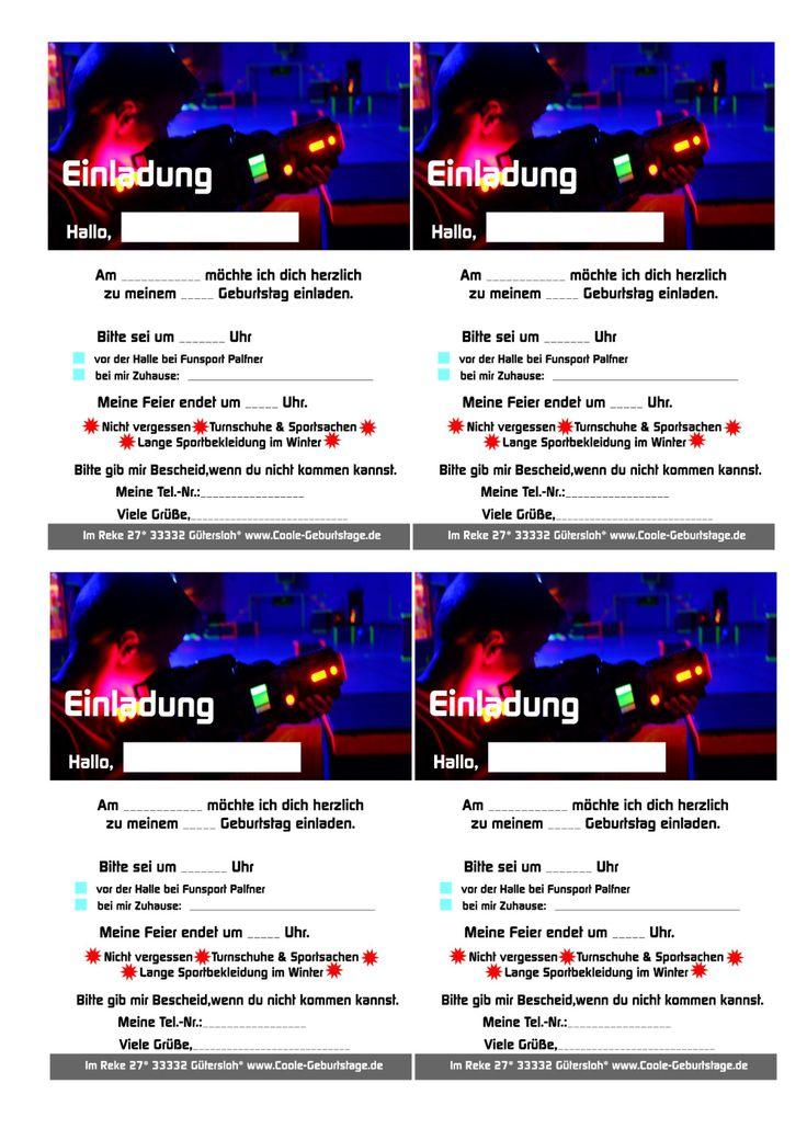 einladungskarten lasertag kostenlos ⋆ geburtstag einladung