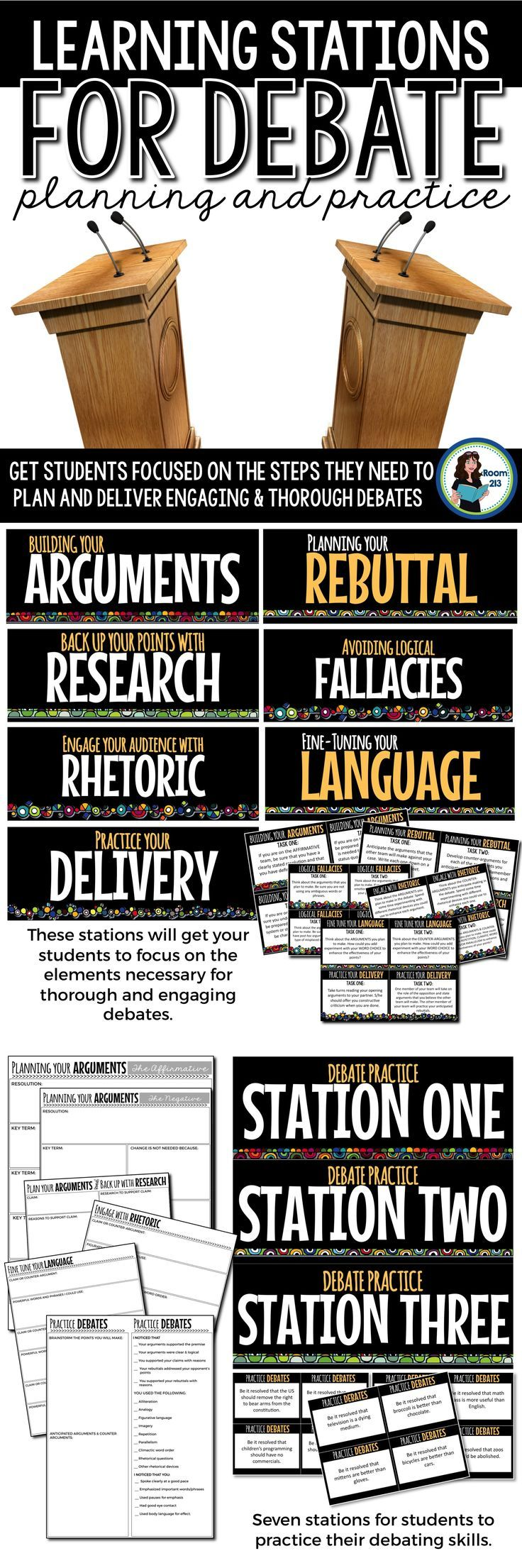 These stations will get your students focused on the elements needed for thorough and engaging debates -- while getting them up and moving too!