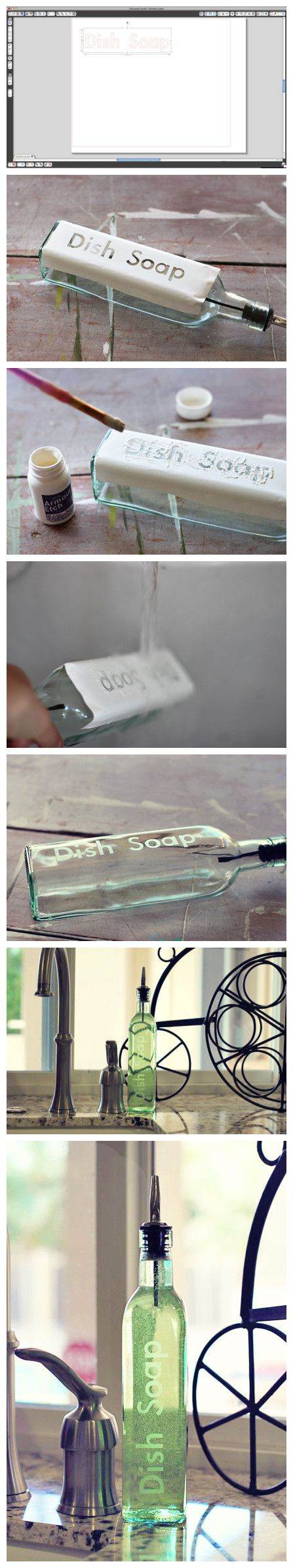 Lettering on glass bottles: Plastic Bottle, Glasses Etchings, Olives Oil, Cute Ideas, Wine Bottle, Glasses Bottle, Soaps Dispenser, Dishes Soaps, Soaps Bottle