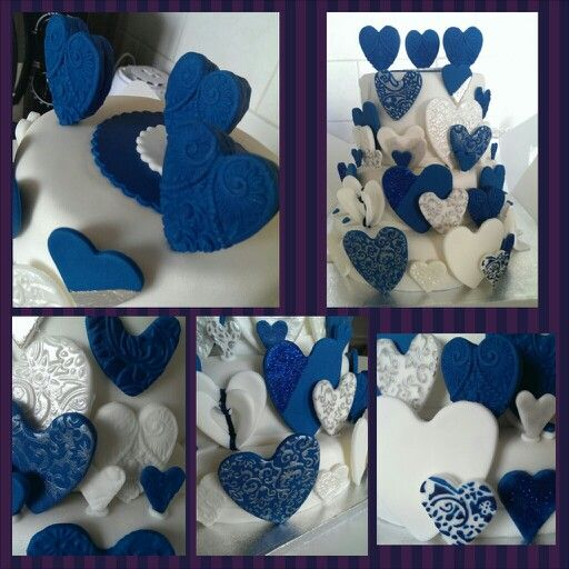 Heart theme royal blue wedding cake!
