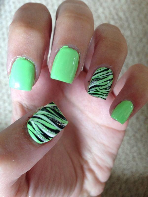 Mint Green Nail Polish With Black Zebra Print Nail Art Pinterest