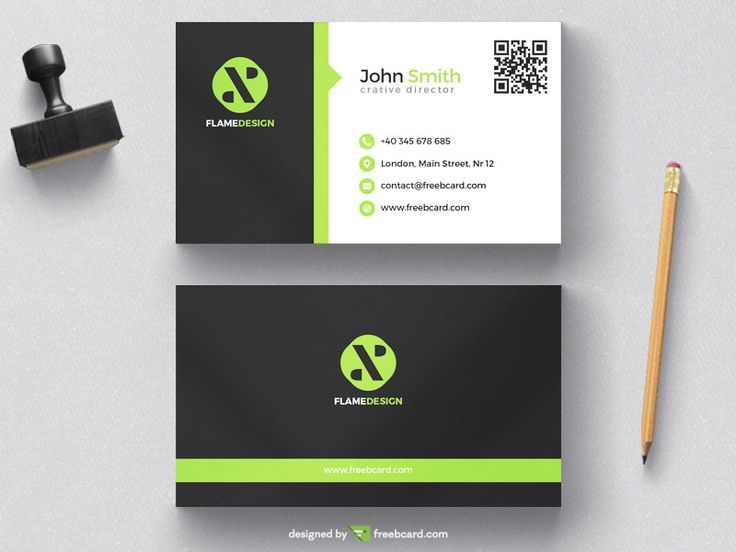 Green and black corporate business card template - Freebcard