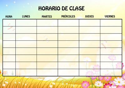horarios para clase imprimir de paisajes