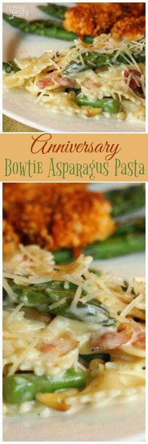 """We call this Creamy Bowtie Asparagus Pasta with bacon, asparagus, and pine nuts """"Anniversary Pasta."""" It was served at my wedding and I make it to celebrate. via @favfamilyrecipz"""
