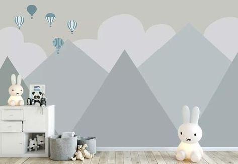 Kids Wallpaper For Child Cartoon Mountain Landscape Wall Mural Soft Hot Air Balloon Wall Print Baby