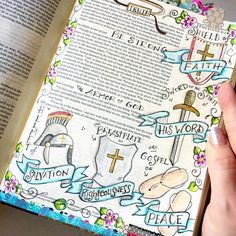 Put on the full Armor of God. Bible Journaling by Our Grateful Hearts on Instagram.