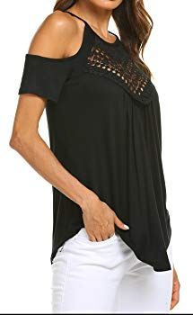 17aaaba4d7fd2 Womens Summer Casual Short Sleeve Top Flowy Loose Lace Shirts Tank Tops  Black S at Amazon Women s Clothing store