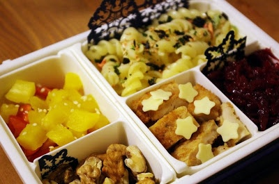 Pasta bento in a Shikiri box.