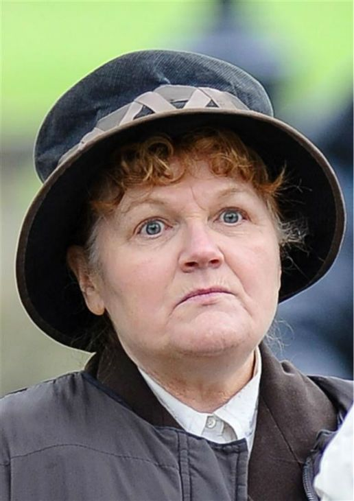 Lesley Nicol (Mrs. Patmore) appears on the set of 'Downton Abbey' season 5 in the town of Bampton in Oxfordshire, England on April 24, 2014....
