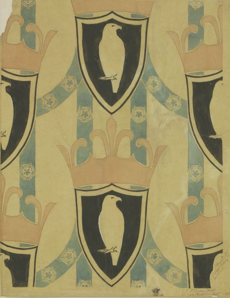 Charles Francis Annesley Voysey (1857-1941) 'HERALDIC' a wallpaper design, signed, inscribed and dated 'CFA Voysey Archt 23 York Place W Sept  20 1904 / Copyright for paper belongs to Essex and Co.' watercolour and pencil 69 x 56cm £3000-5000 on 10th October 2017