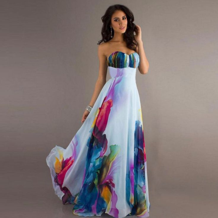 Change your usual style dressing into this tasteful, lovely maxi dress. This features strapless design, chiffon maxi skirt that flows gently as you move, multicolor floral print. Crafted from polyeste