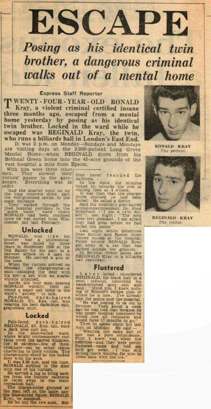 Ronald Kray escape from Long Grove mental hospital by posing as his brother Reg.