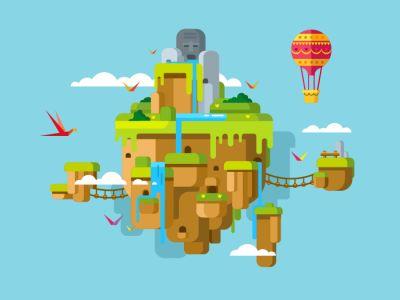 Floating island flat vector illustration