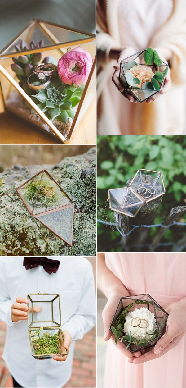 trending geometric terrarium wedding ring boxes and holders 2017
