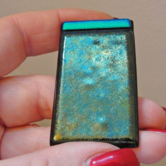 Extra Large en verre irisé argent Clip verre par sljglass sur Etsy, $26.00